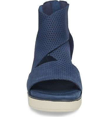 7ac20f3fbe2 Eileen Fisher Perforated Sport Platform Sandals Shoes Denim Nubuck Size 6.5   195