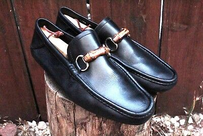 8a6b3d28c4c Men s Gucci HorseBit Bamboo Driving Loafers Size 8 42 M D Black Leather Moc