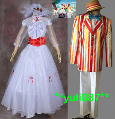 Mary Poppins Bert Couple English Nanny Holiday Cosplay Adult Costume Dress Hat