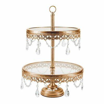 2-Tier Glass Top Cupcake Stand | Gold | Anastasia Collection