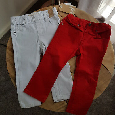Toddler Baby Girl Boy UNISEX Jeans Jeggings Bundle Red & White Size 1 x2 Pairs