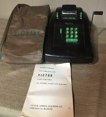 Vintage Victor 10 Key Portable Adding Machine Bakelite Manual And Cover