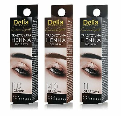 Delia Eyebrow HENNA Traditional Tint Kit Set Brown Black Graphite Eyelashes 2ml
