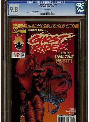 Ghost Rider #91 Cgc 9.8 White Pages 1997 Lower Print Run Blue Label Red Cover