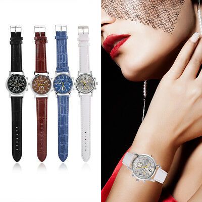 PU Leather Round Quartz Analog Fashionable Men Women Watch Wristwatches