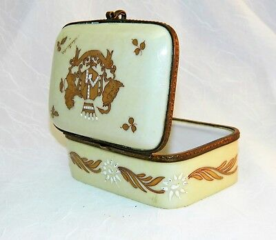 "~ Antique FRENCH PORCELAIN BOX Hinged HAND PAINTED Coat of Arms SIGNED  4"" ~"