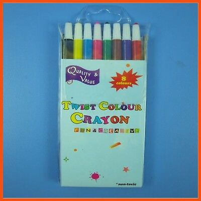 24 x TWISTABLE CRAYONS SET (8pc) | Kids Colour Pencils School Craft Drawing Art