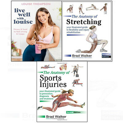 Live Well With Louise:Anatomy ofStretching,Sports Injuries 3books collection set