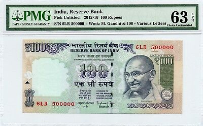 2012-16 India 100 Rupees Exotic 6Lr 500000 Pmg 63 Epq Choice Uncirculated  P0148
