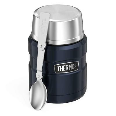 Travel Thermos Stainless King 16 Ounce Food Jar Folding Spoon Midnight Blue