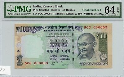 2012-16 India 100 Rupees Exotic  5Cg 000003 Pmg 64 Epq Choice Uncirculated P0133