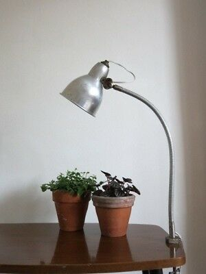 Vintage French Industrial Machinist Gooseneck Clamp Surface Lamp