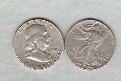 Usa 1942 & 1958 Silver Half Dollars In Good Fine Or Better Condition