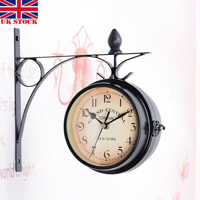 Electronic Double Side Wall Clock Outdoor Garden Station Mounted With Bracket UK