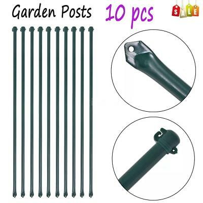 Set Of 10 Garden Post Metal Fencing Plant Supports Spikes Stakes 1 M Green  X3C5