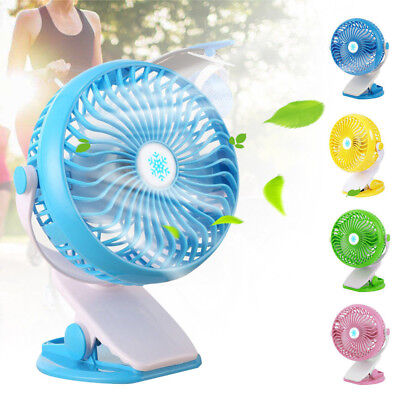 Rechargeable Battery Operated Clip on Mini Desk Fan, Stroller Fan with USB Fan