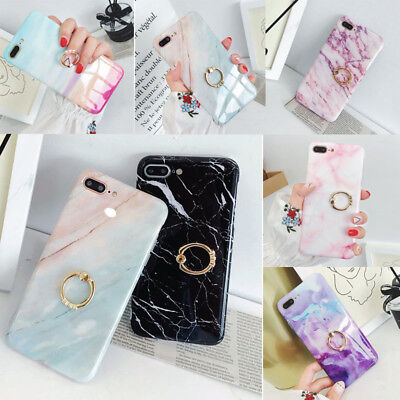 Hybrid Marble Case With Metal Ring Diamond Holder for iPhone 7 8 Plus XS Max XR