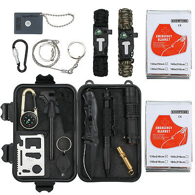 16 in 1 Outdoor Survival First Aid Tool Hiking Camping Rescue Gear Emergency Kit