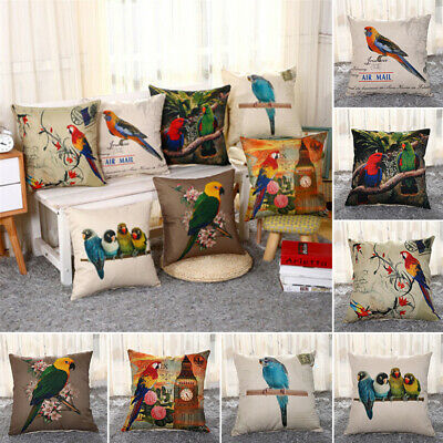 Vintage Cotton Linen Parrot Pillow Case Sofa Waist Cushion Covers Home Decor