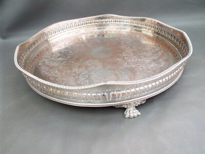 Vintage large ornate silver plated tray with rise & fall gallery & lion feet