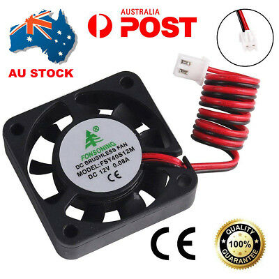 AU 1pc 12V 2 Pin Extruder Brushless Cooling Fan 0.08A DC 40mm for 3D Printer