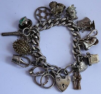Lovely vintage solid sterling silver charm bracelet & silver charms,inc Xmas pud