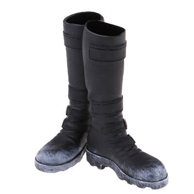 For 12'' Action Phicen Kumik Hot Doll Male Mid-calf Knee High Boots Black