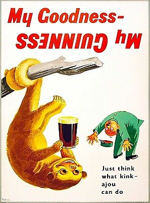 Guinness Beer kinkajou Monkey Ireland Great Britain Vintage Travel Art Poster