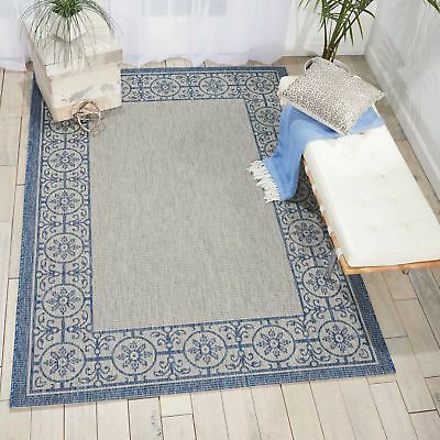 Nourison Garden Party Grd03 Ivory Blue Indoor Outdoor Area Rug 7