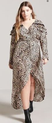 FOREVER 21 PLUS Size Leopard Print Wrap Maxi Dress 3X Nwt ...