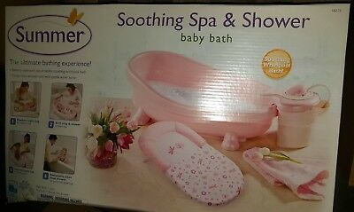 Summer Infant Lil Luxuries Baby Bath Whirlpool Bubbling Spa & Shower Pink New