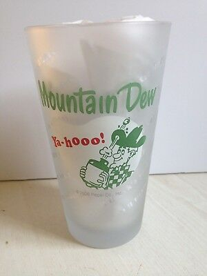 "Yahooo Mountain Dew HILLBILLY Frosted Tumbler Glass ""Tickle Your Innards"""