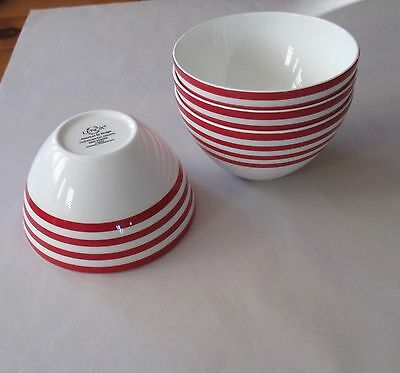 Lenox Continental Dining Red Stripe 6 Soup Salad Rice Bowls NWT