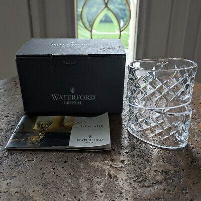 Waterford Crystal ALANA Napkin Rings (2) Ireland Made Oval Criss Cross Diamond