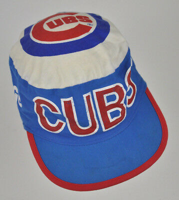 Vtg CHICAGO CUBS Painters CAP Hat CLOTH Fabric DISTRESSED Blue RED Twins  FLAT f2f6421abb4