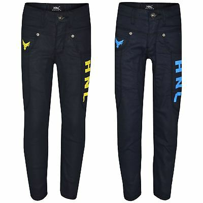 Boys Stretchy Jeans Designer Kids HNL Denim Skinny Jean Pants Trousers 5-13 Year