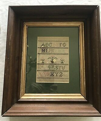 Antique Needlework Sampler in old frame