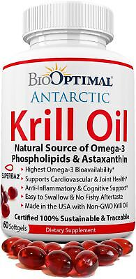 Krill Oil 1000 mg, Krill Oil 60 Capsules - No Fishy Taste, Non-GMO, Omega 3 & As