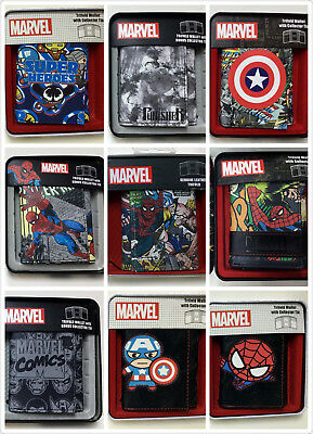 Marvel Trifold Wallet with Collector Tin SUPER HEROES SPIDER-MAN AMERICA IRONMAN