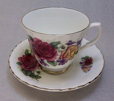 Connoisseur Roses Porcelain Cup And Saucer Fine Bone China Made In England