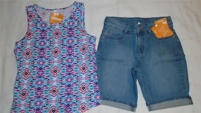 NEW Girls Gymboree Outfit Size 6 Jean Shorts Size 5-6 Colorful Tank Top NWT