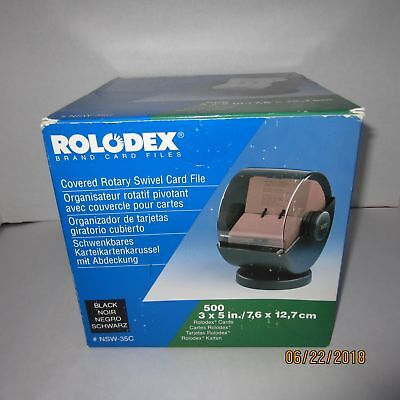 """Rolodex NSW-35C Covered Rotary Swivel Card File 3"""" x 5"""" Index Cards Black Smokey"""