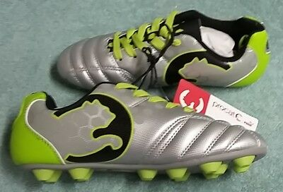 5b355262deab Puma ProCat Cleats Size 3 youth Silver Black Green Soccer Sport Shoes New w  tags