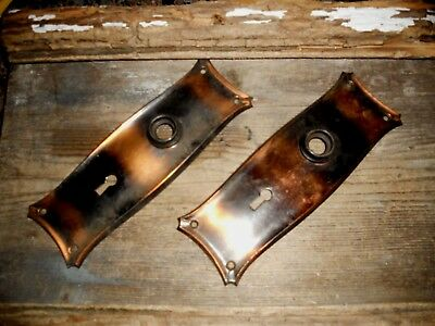 Vtg Set Mission Gothic Tiger Stripe Copper Flash Japanned Door Knob Backplates
