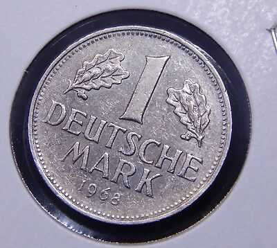 [West] Germany 1 Mark 1968-J KEY DATE Nice ABOUT UNC CuNi Coin!
