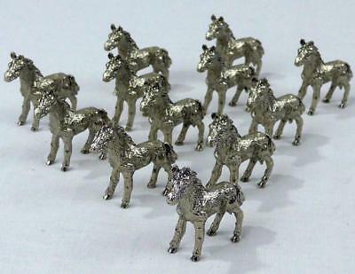 Lot of 12 Small Metal Horse Figurienes Marked 1989 Tiny Little Miniture Figure