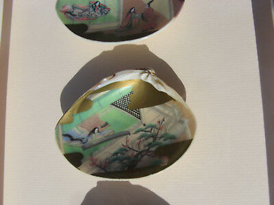 Antique Japanese Kaiawase Shell Game Pieces.. Tales Of Genji.