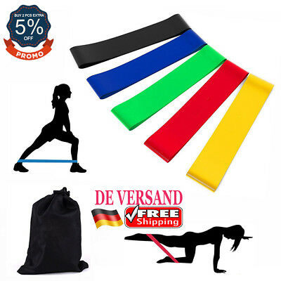 DE Stretch Widerstand Trainingsbänder Sport Yoga Resistance Band Gymnastikband