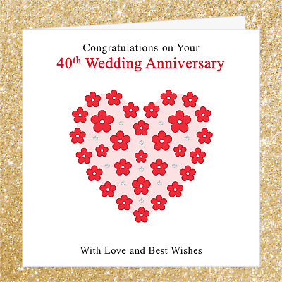 40th Wedding Anniversary Card 004rn Congratulations On Your Ruby Red Heart