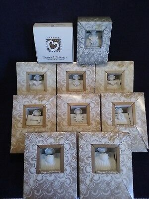 Vintage Margaret Furlong Shell Angels & Heart Ornament ~ 10 Total All Boxed